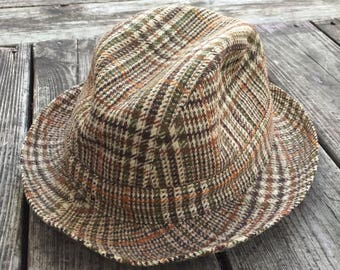 Gala Forest Plaid Wool Trilby Fedora Hat Made in Scotland