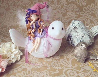 Pilot bird and her little fairy of cold porcelain - girl gift