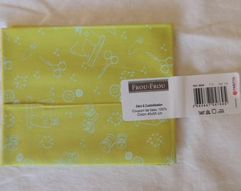 I Love sewing pattern coils color olive flower cotton fabric coupon