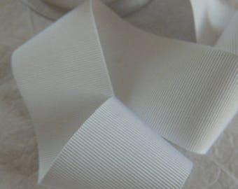 Ribbon 4 cm wide white grosgrain