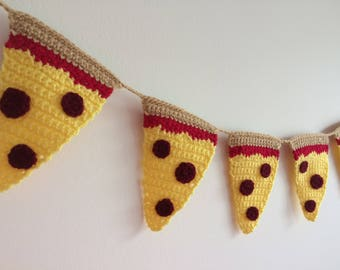 Crochet Pizza Bunting - Junk Food Lover Gift