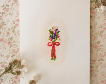 Simple Flower Bouquet // Handmade Blank Card // Original Watercolor Painting