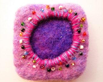 Geometric wool brooch, Geometric brooch, Woolen brooch, Eco brooch, Eco fashion brooch, Felted square brooch, Felted purple brooch