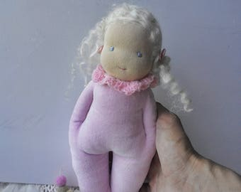 Waldorf style doll - Simple - Teething doll - Cuddle - Organic girlfriend for child  - Blonde hair doll - Sleeping doll