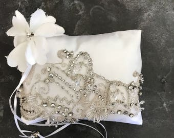 Rhinestone lace over cream Satin