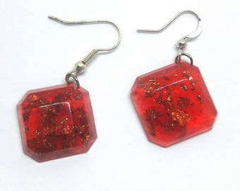 Red gold leaf earrings