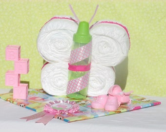 It's A Girl Butterfly Diaper Cake With Toys - Baby Shower Centerpiece - FREE SHIPPING!