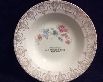 """Unique Crown Potteries Ivory Platinum design 8"""" soup bowl."""