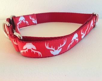 Christmas Martingale Dog Collar, Large Martingale Collar, Large Reindeer Martingale Dog Collar, Large Reindeer Adjustable Dog Collar