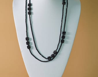 Black Spinel and Druzy Necklace