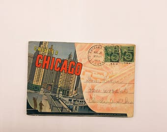 1 Vintage 1937 Chicago Postcard Book with 18 Greater Chicago City Pictures   2 Used Stamps   New Post Office Building
