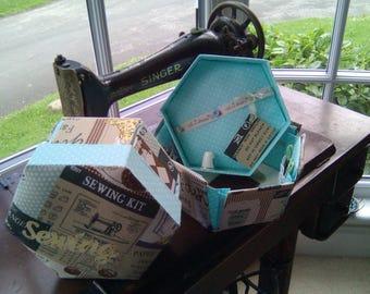 Hexagonal Etui Sewing Box