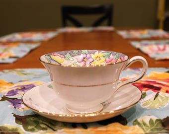 Custom Scent TeaCup Candle, Vintage Rosina Bone China, made in England, hand painted, floral pattern, natural soy wax and scent of choice