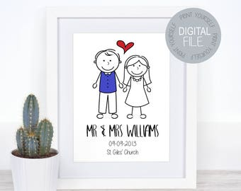 Personalised Wedding Gift Wall Art, Personalised Gift, Wedding  Gift, Wedding Picture