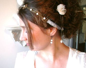 Wedding headband lace, pearl beads and antique bronze, comprising a complete set, earrings and bracelet, flower hair clip