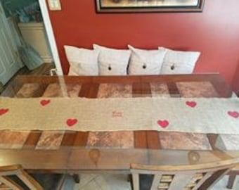 Valentines Burlap Table Runner