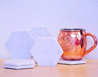 SIX Marble Hexagon Coasters - Geometric Coasters  - Set of 6