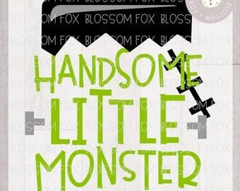 Halloween SVG File, Handsome Little Monster Svg, Trick or Treat Svg, Monster Svg, First Halloween, Halloween Svg file for Silhouette Cricut