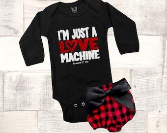 Baby Girl Valentine Outfit, Valentine Bodysuit, I'm Just a Love Machine Bodysuit, Boys Valentine, Girls Shirt, Babys Valentine Outfit, Cupid