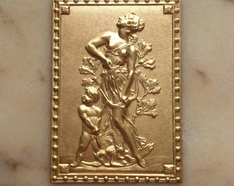 Large/Rare/Vintage/French/Rococo/Gilt Brass/Artemis/Stampings/Embossed/Furniture Mounts/Appliqué/Embellishments/Plaques/Curio Boxes/ Ormolu