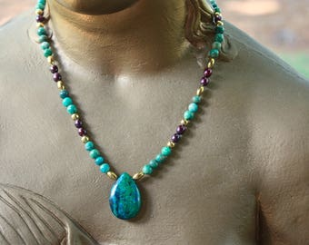 Chilean Chrysocolla, Russian Amazonite and Australian Freshwater Pearl Necklace