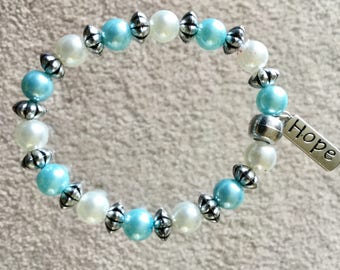BLUE AND IVORY Pearl Beaded Bracelet With Silver Inspirational Charm