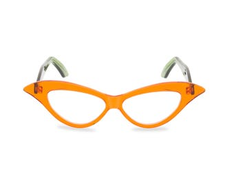 "Outrageous extended 50s vintage style cat eye glassees ""Lady M"" in Crystal Tangerine with green arms, handmade frame ready for prescription."