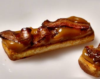 Marvelous Miniature Bacon And Maple Bar 1:12 Scale Miniature Dessert, Long John With  Bacon