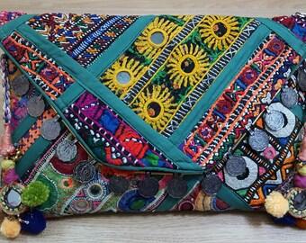 Bohemian Handmade Clutch/Cross bosy Bag/ Shoulder Bag/ Envelope Bag, Banjara Bag, Patchwork with mirrors, Vintage Patchwork