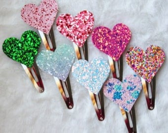 Heart Chunky Glitter Heart Snap Clips