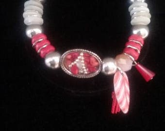 Red Feather Charm Bracelet