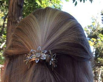 Vintage 1960s rhinestone and flower ponytail holder updo prom wedding hair