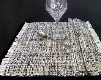 Placemats Pair - Black & White Tweed