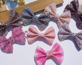 Baby Glitter bows - baby girl glitter hair bows