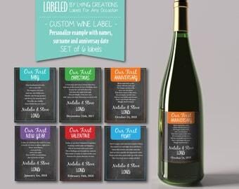 """wedding wine labels - wedding gift - milestone labels - """"our first"""" wine bottle labels - first wine labels - waterproof labels - custom"""