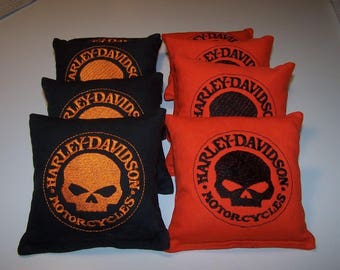 Embroidered Harley Davidson Skull Cornhole Bags Set of Eight - Sweet
