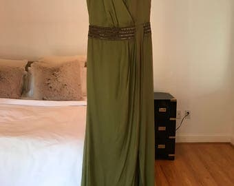 Carmen Marc Valvo - Grecian Gown in Green with Jeweled Bodice