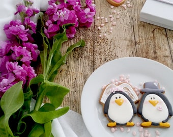 Hand Decorated Penguin Biscuits, wedding favours, wedding gift, Handmade biscuits, handmade cookies, hand iced cookies,