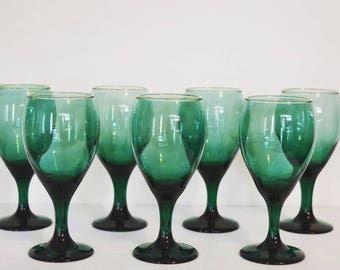 Vintage emerald green glass goblets - set of 8