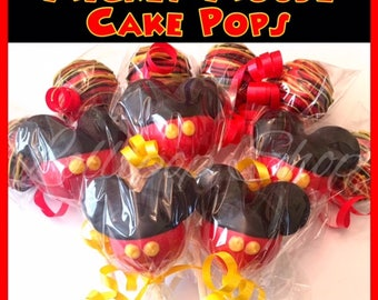 12 Mickey Mouse cake pops (Birthday, Disney, first birthday party, Mickey Mouse party favors)