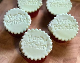 6 x Edible Happy Birthday Cupcake Toppers
