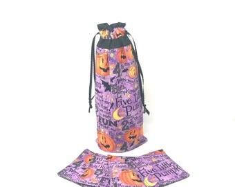 Pumpkin  Wine Bag with Fabric Coasters | Wine Gift Baskets | Best Wine Gifts | Best Hostess Gifts | Wine Bottle Bag | Wine Bottle Decor