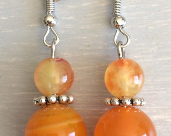 Orange agate earrings with sparkles