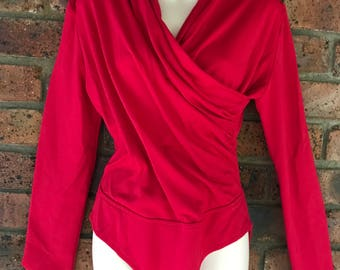 80's Red Crossover  Bodysuit  size 10