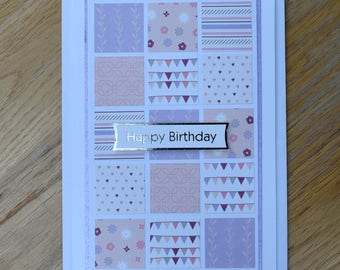 Pretty in Pink Patchwork Birthday Card