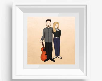 Custom Couple Portrait - A perfect gift for any couple, ideal for anniversaries, birthdays, engagements or valentines day.