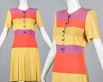 SALE XS 30s Day Dress Rayon Dress Vintage 1930s Stripe Dress Dropped Waist Pleated Skirt Yellow Pink Purple Stripe