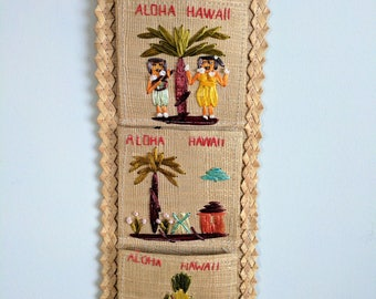 Vintage Hand Woven Mail Separater Hawaiian Themed | Bohemian Decor | Wall Hanging | Letter organizer | Boho | Hawaii