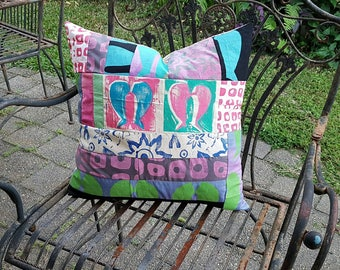 Patchwork cushion cover and cushion