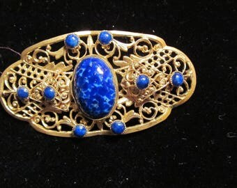 Vintage Gold and Blue Stone Brooch